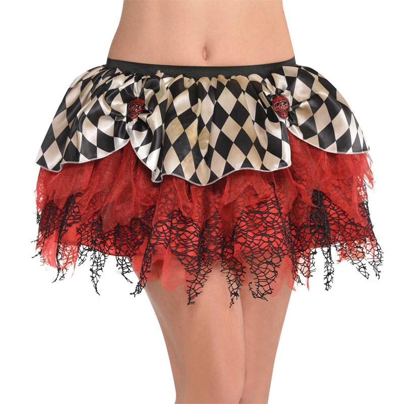 Jupe tutu arlequine rouge et noire