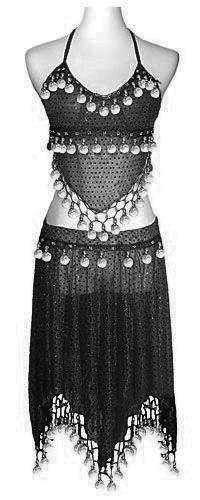 Costume de danseuse orientale noir pailletée
