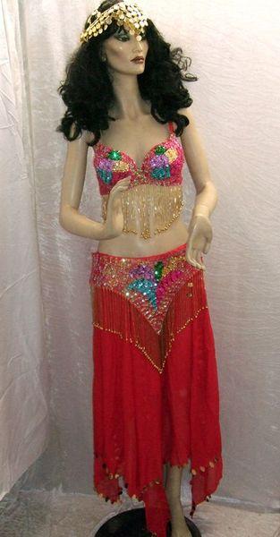 Costume de Danseuse Orientale Rouge