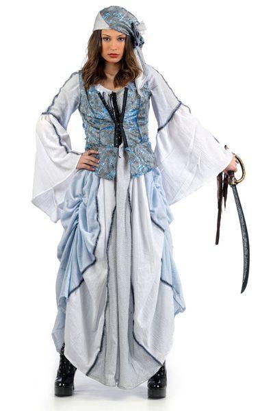 Déguisement luxe de Pirate Femme Bleu