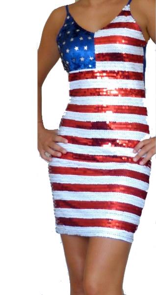 Robe disco à paillettes drapeau américain usa