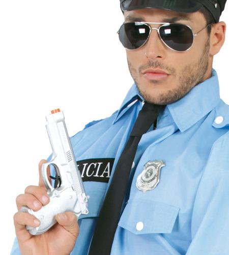 Pistolet En Plastique Argenté 22 Cm