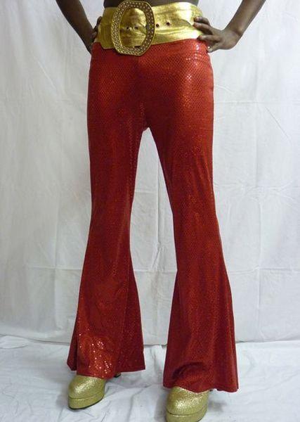 Pantalon Disco Mixte Rouge à Paillettes