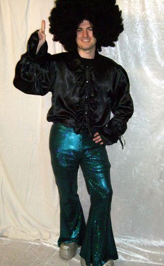 Pantalon Disco Turquoise Mixte à Paillettes