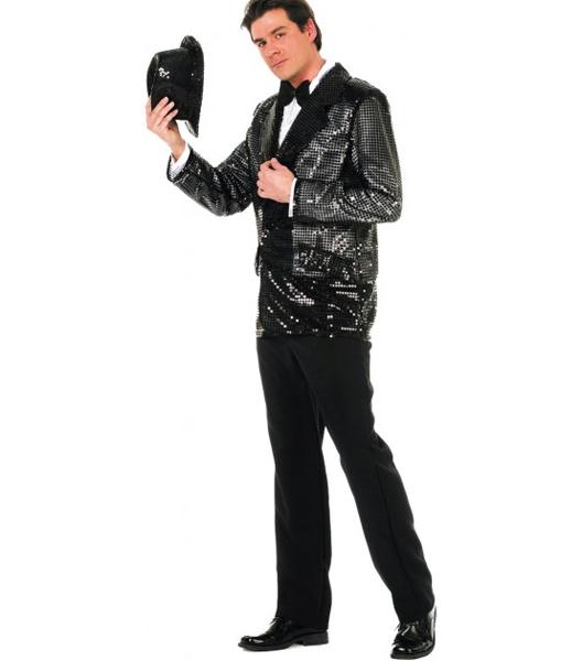 Déguisement veste disco à paillettes noire