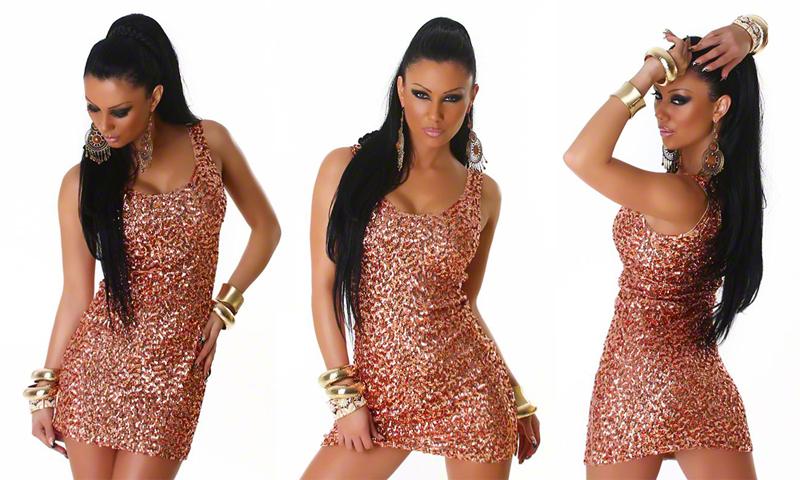 Mini robe à paillettes cuivre