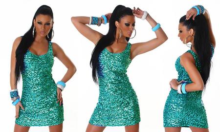 Mini robe à paillettes turquoises
