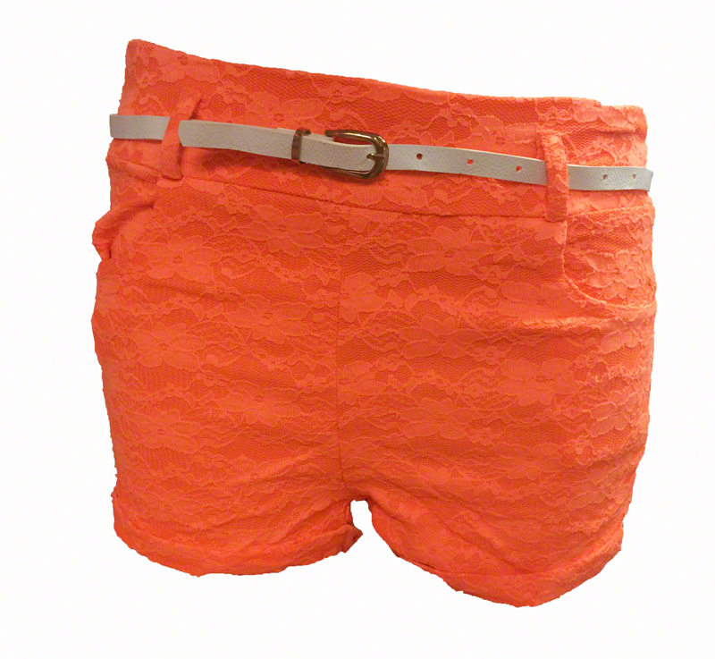 Short en dentelle lycra orange fluo