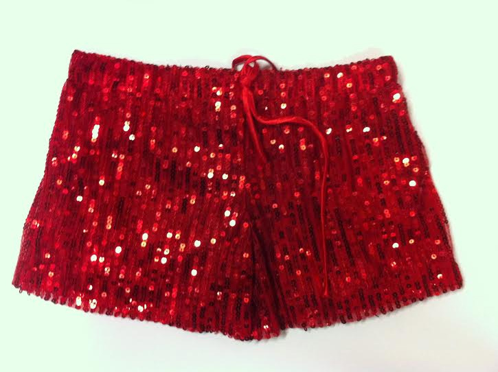 Short paillettes rouges