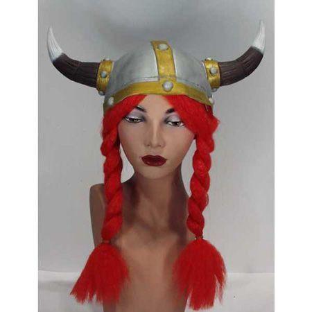Casque gaulois ou viking En Latex Avec Tresses