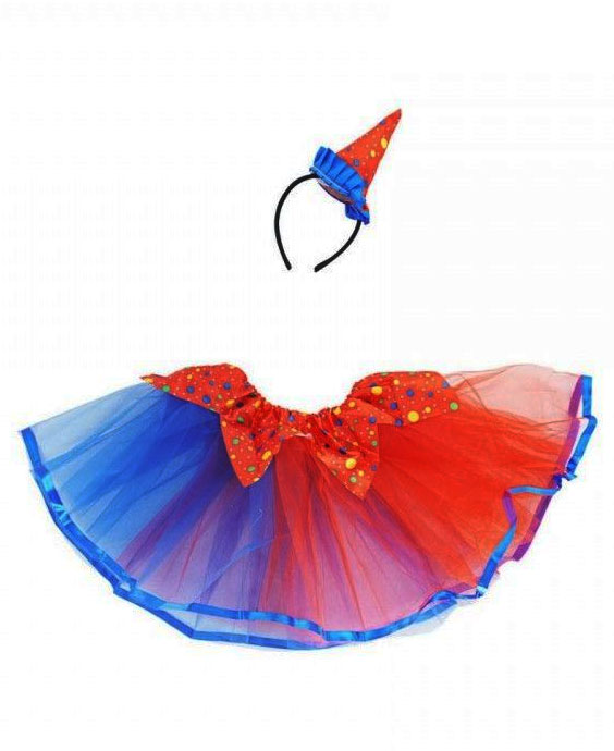 Kit clown tutu et chapeau bleu et rouge