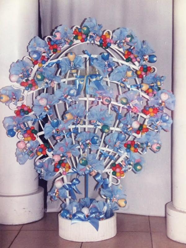 Composition de dragées montgolfière bleu