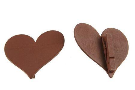 12 Marques Places Coeurs En Bois Chocolat