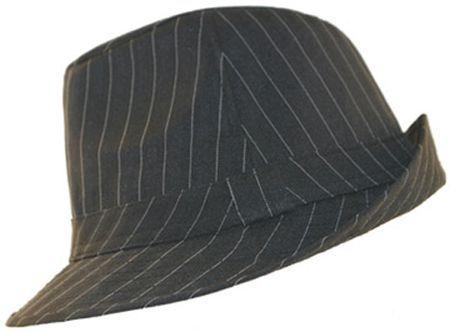 Chapeau borsalino trilby noir rayé blanc