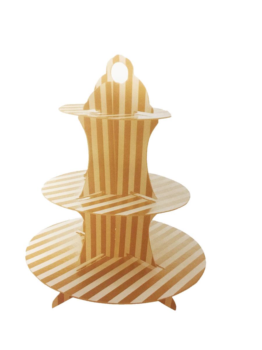 Plateau cup cake rayé or