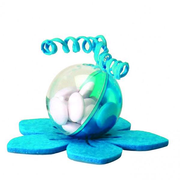 10 boules à dragées en plexi turquoises