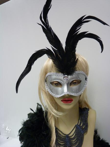 Masque argent à plumes