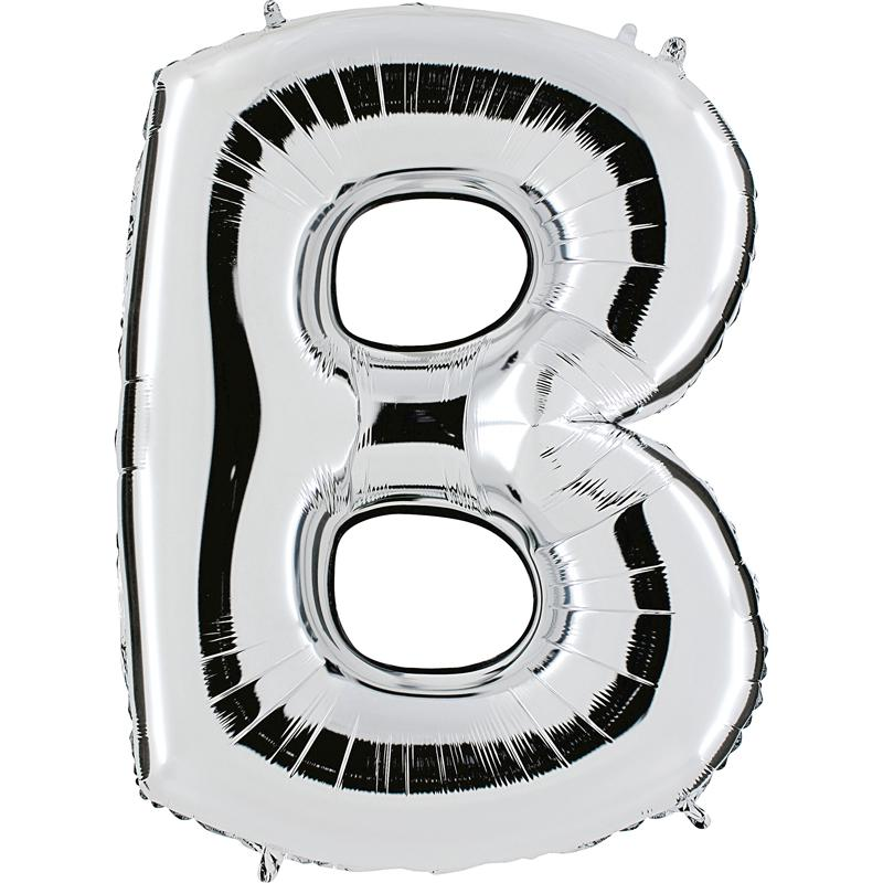 Ballon mylar lettre B argent 104 cm