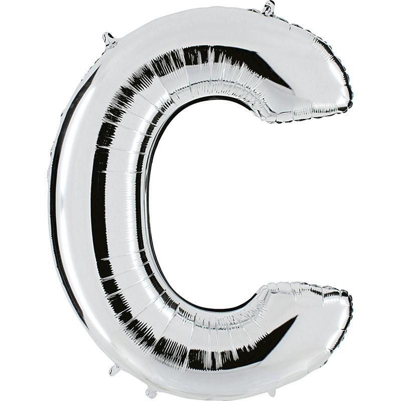 Ballon mylar lettre C argent 104 cm