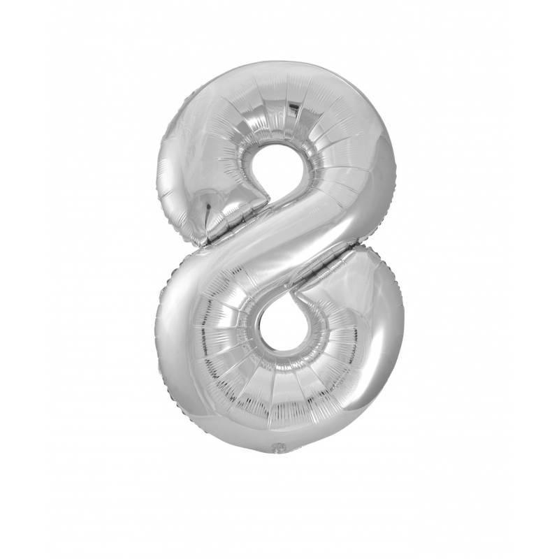 Ballon géant chiffre 8 aluminium argent 104 cm