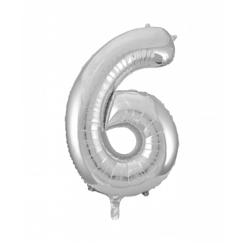 Ballon géant chiffre 6 aluminium argent 104 cm