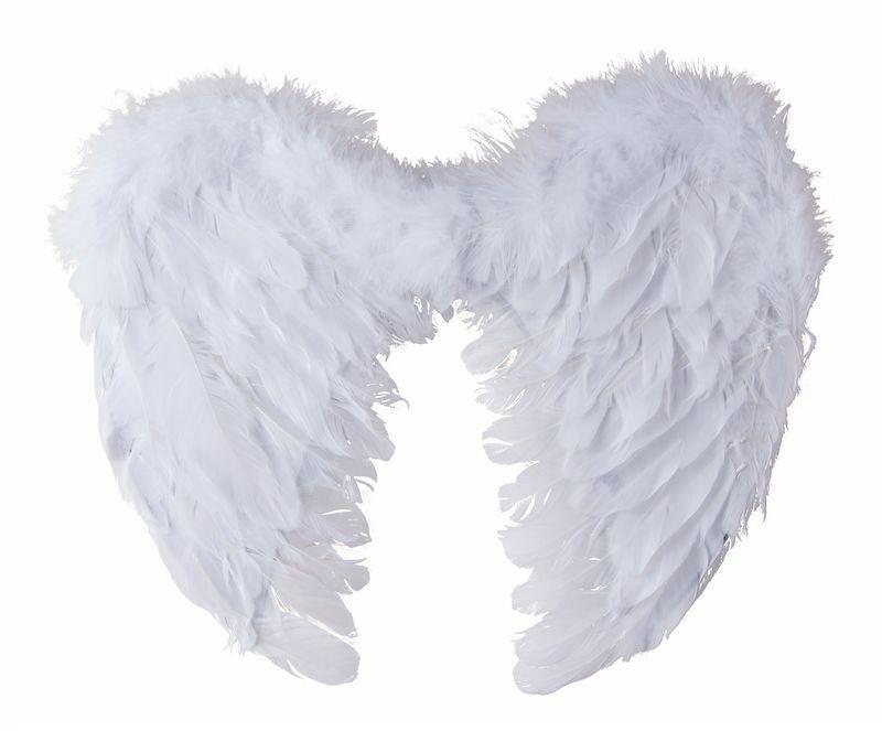 Ailes d\'ange en plumes blanches 50 cm