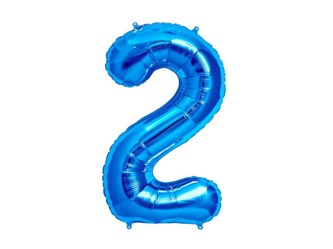 Ballon géant chiffre 2 aluminium bleu 104 cm