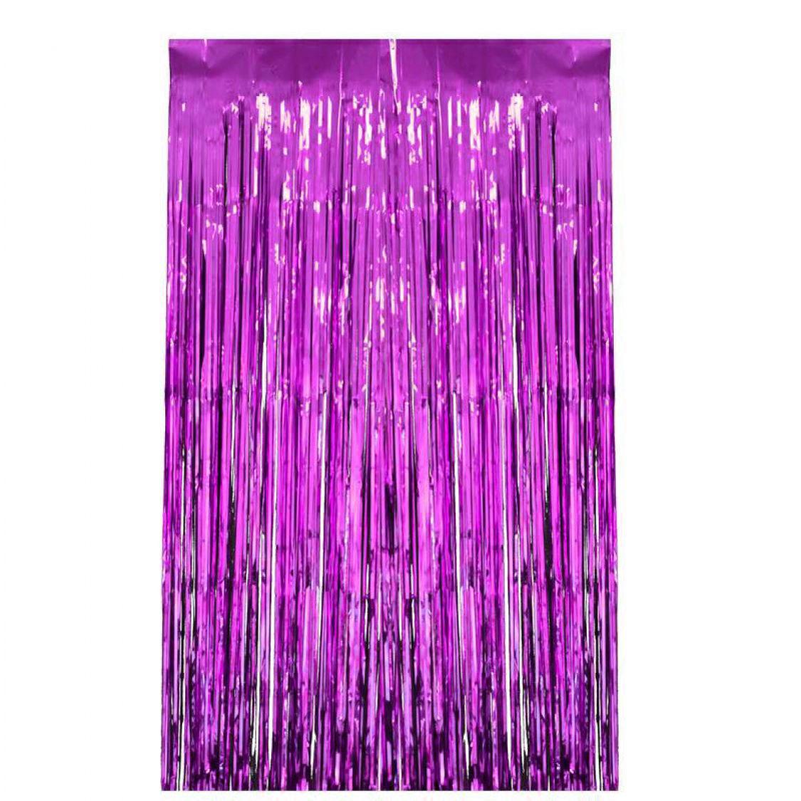 Rideau métallisé à franges violet