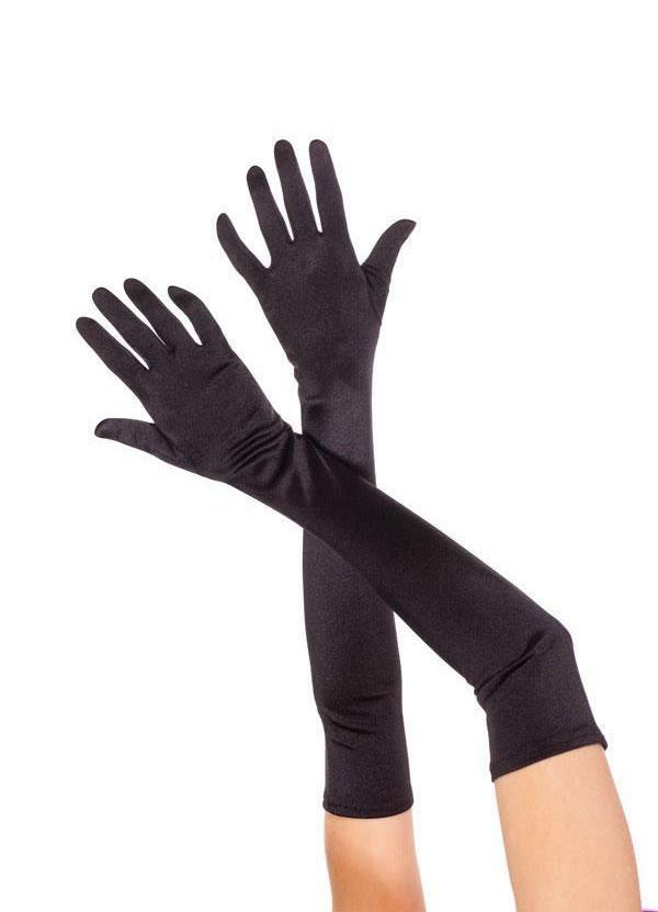 Gants satin lycra noirs 50 cm