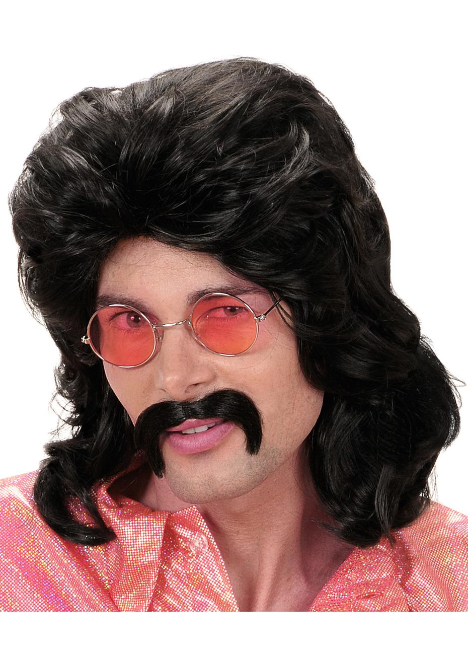 Perruque 118 218 Brune Avec Moustache