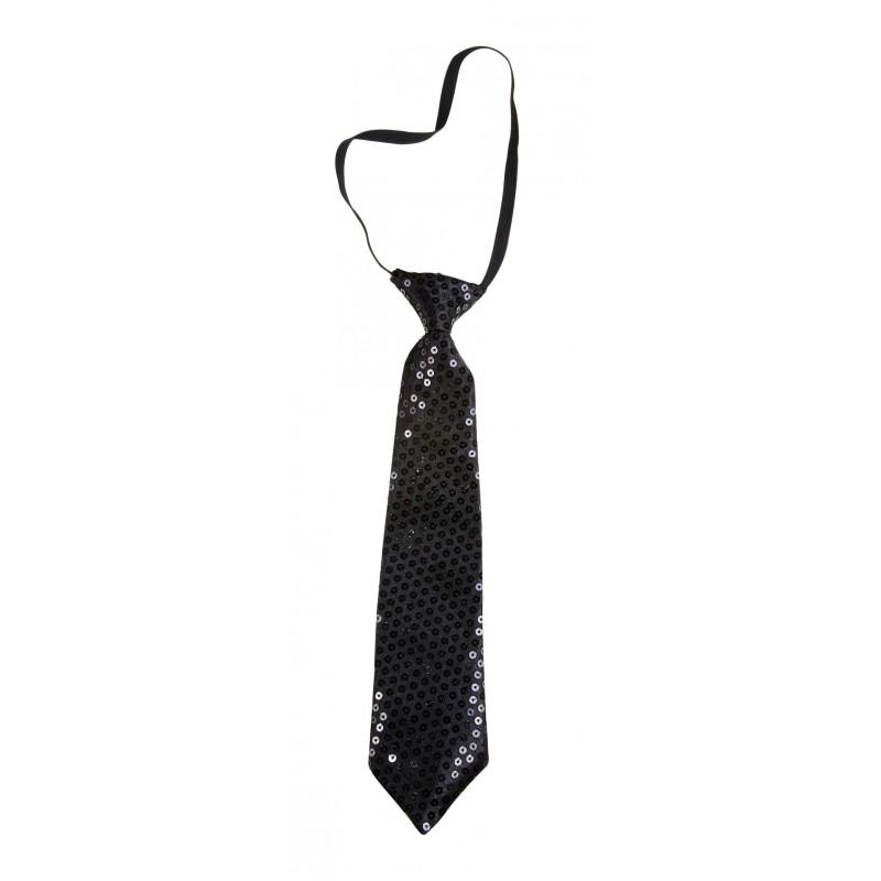 Cravate courte à paillettes noires