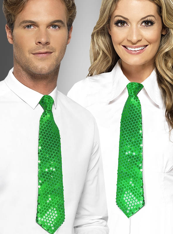 cravate verte paillette