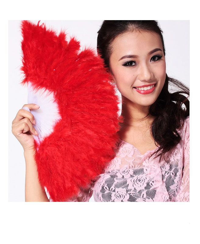 Eventail en Plumes Rouge