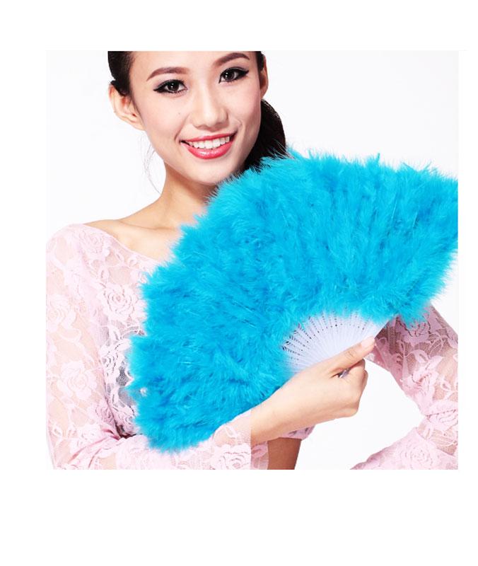 Eventail en Plumes Bleu Turquoise