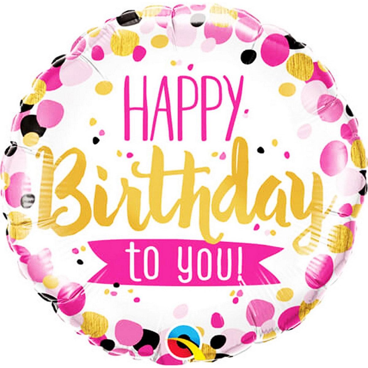 Ballon mylar happy birthday à pois