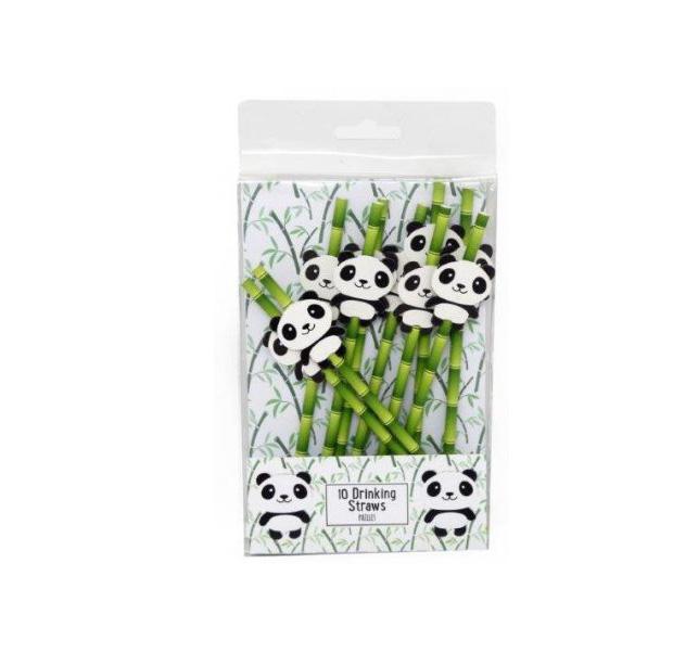 10 pailles thème panda kawaïi