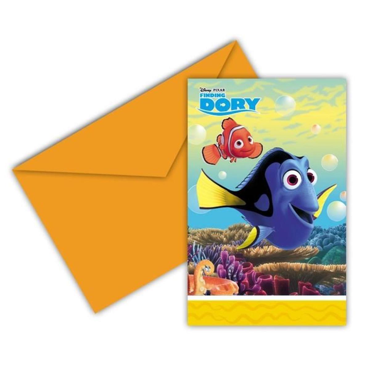 6 invitations Dory
