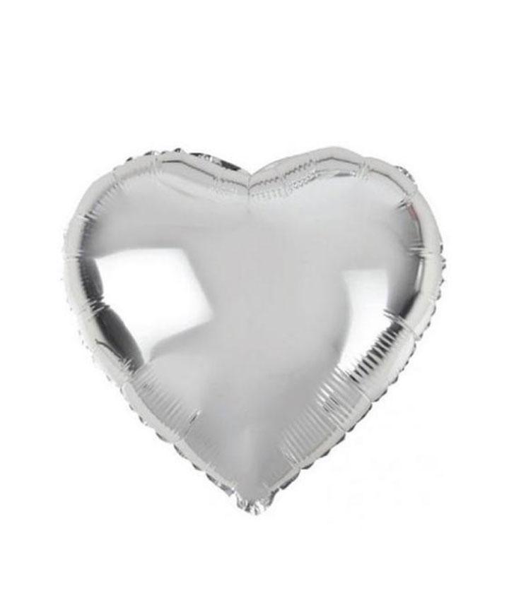 Ballon mylar coeur argent