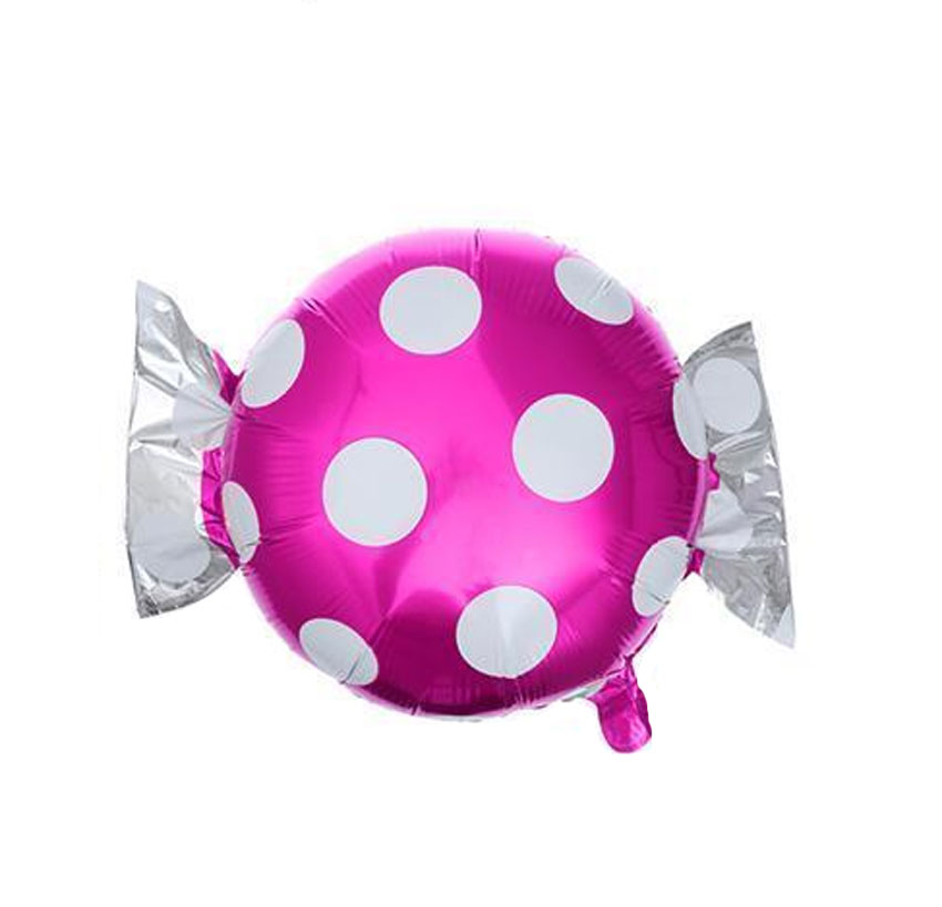 Ballon mylar aluminium bonbon rose à pois