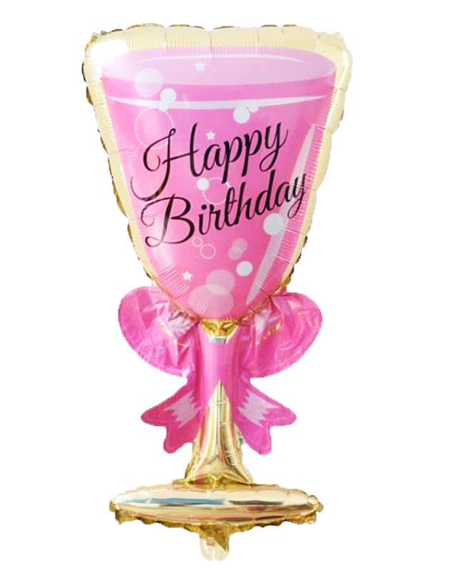 Ballon mylar aluminium coupe de champagne rose