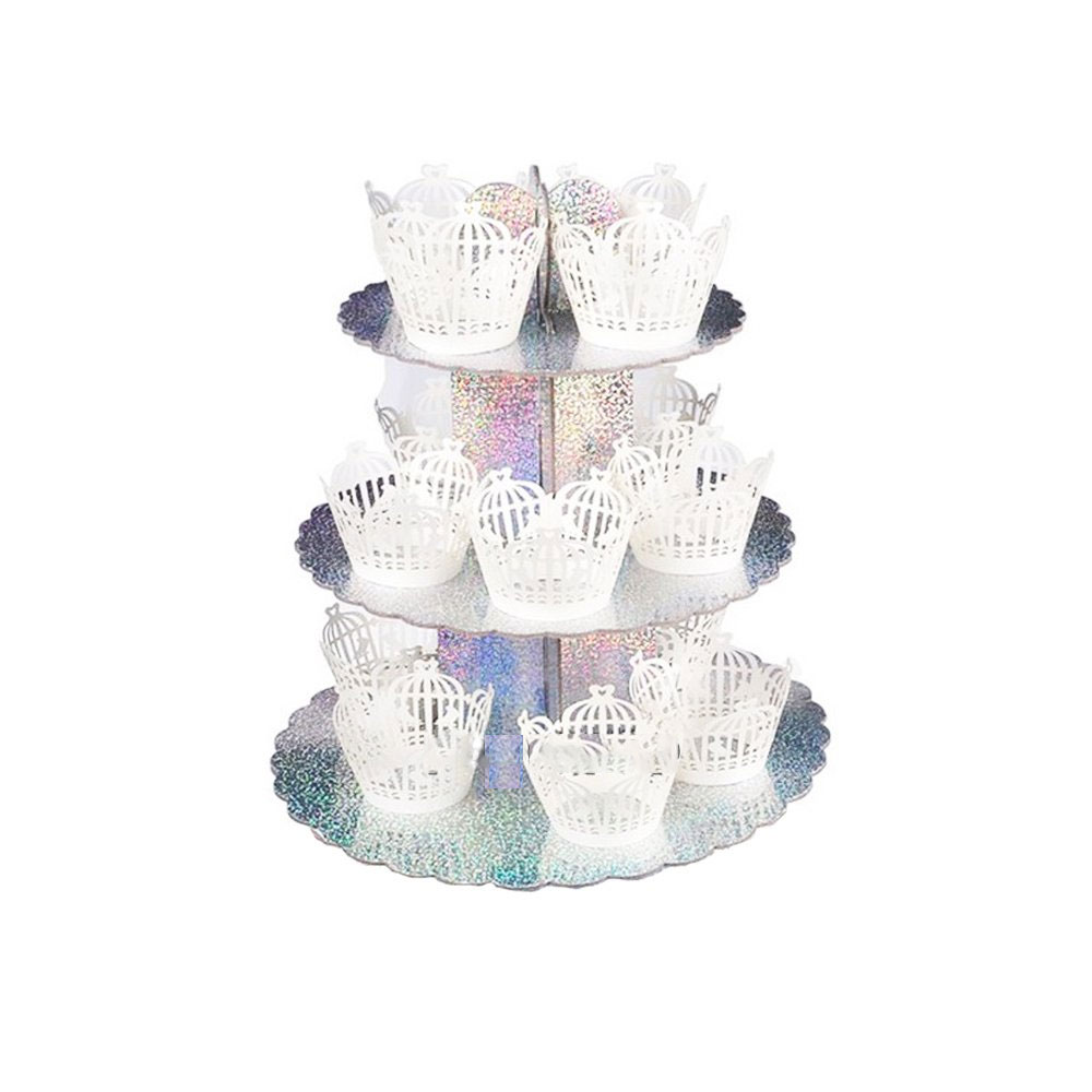 Plateau à cup cakes argent laser