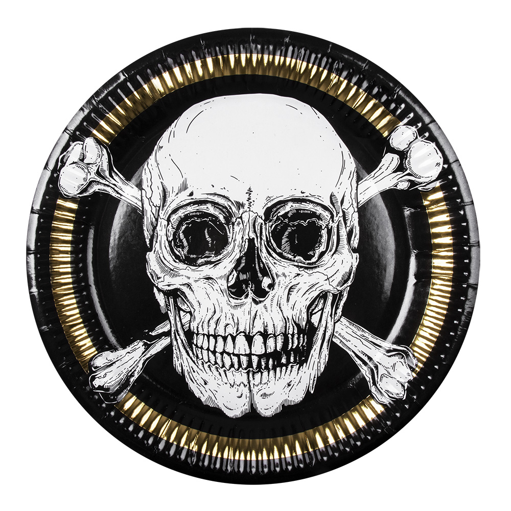 6 assiettes pirates tête de mort