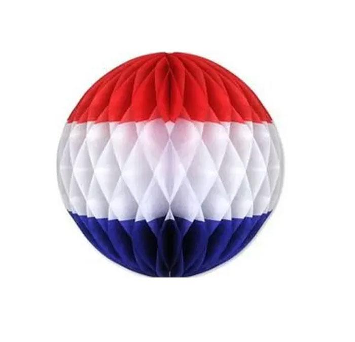 Boule alvéolée tricolore 25 cm France ou USA