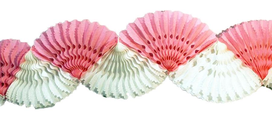 Guirlande éventail en papier blanche et rose