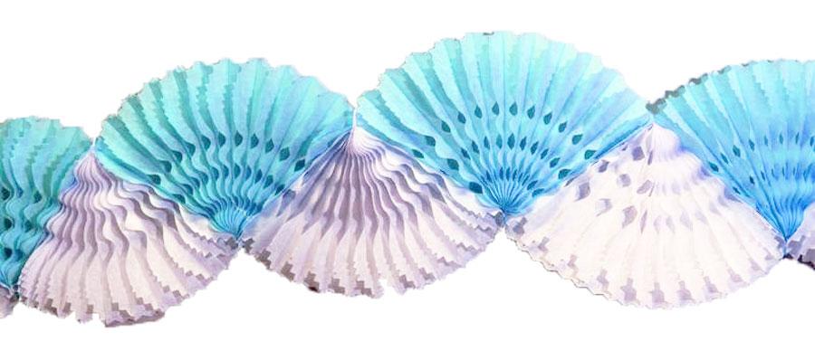 Guirlande eventail en papier bleu et blanc