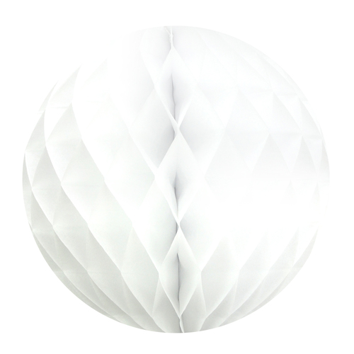 Boule Papier Alvéolé 25 Cm Blanche