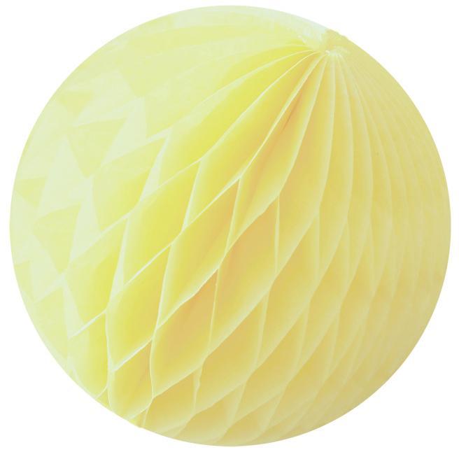 Boule Papier Alvéolé 25 Cm Jaune pastel