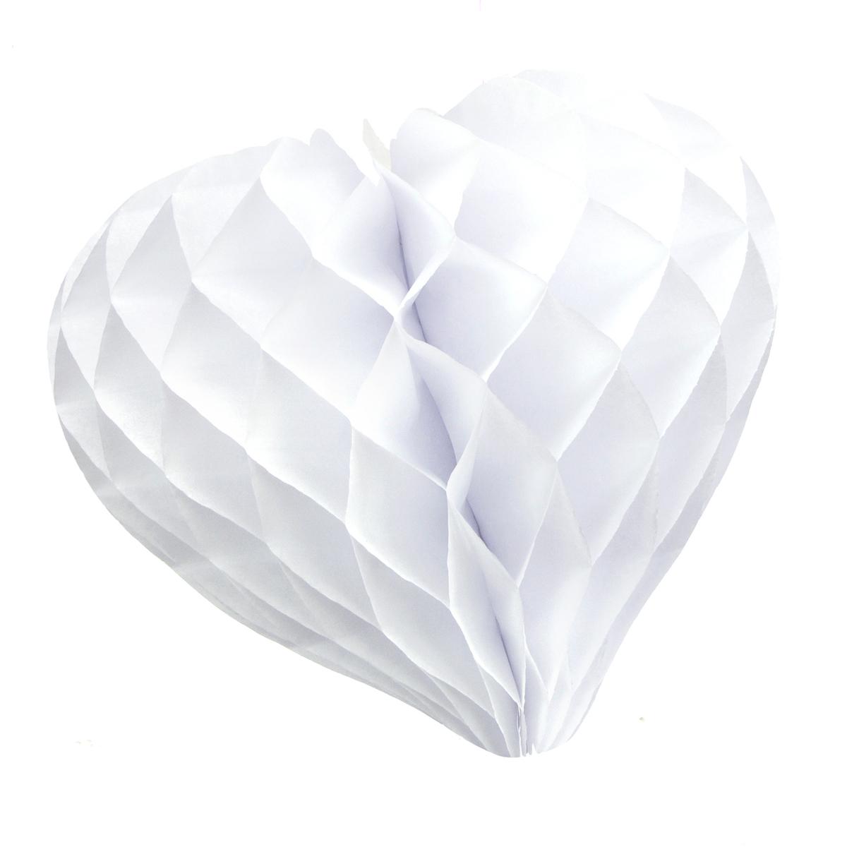 Coeur en papier alvéolé blanc