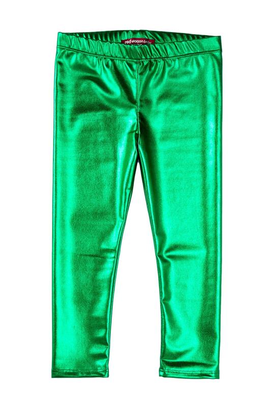 Legging métallisé enfant vert brésil.