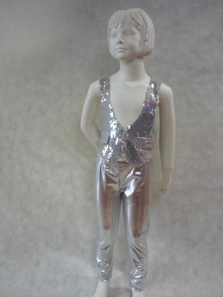 Legging métallisé enfant argent
